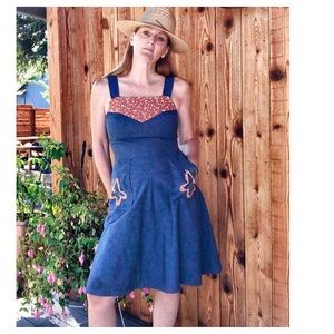 VTG 70s Chambray Patchwork/ Embroidered Dress Sm